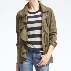 Banana Republic Olive Green Ruffle Military Jacket